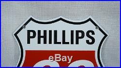 Vintage Phillips 66 Porcelain Sign Gas Motor Oil Station Pump Plate Gasoline Ad