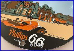 Vintage Phillips 66 Porcelain Sign Gas Station Pump Plate Motor Oil Gasoline