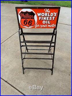 Vintage Phillips 66 Porcelain Sign Motor Oil Rack (Worlds Finest Oil)