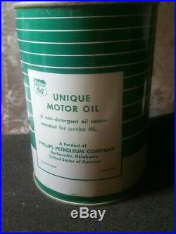 Vintage Phillips 66 Unique Motor Oil Can Quart Advertising very rare full