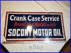 Vintage Porcelain Crank Case Service Socony Motor Oil Sign