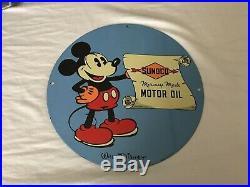 Vintage Porcelain Mickey Mouse Sunoco Motor Oil Gasoline Original Disney Sign