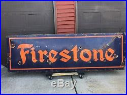 Vintage Porcelain NEON FIRESTONE MOTOR OIL Gasoline TIRE AUTO Sign