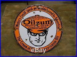 Vintage Porcelain Oilzum Motor Oil Sign Gas Service Station Pump Plate Oil