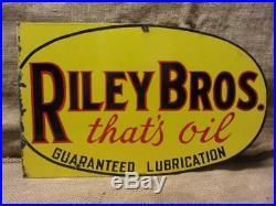 Vintage Porcelain Riley Bros Motor Oil Flanged Double Sided Sign Antique 9836