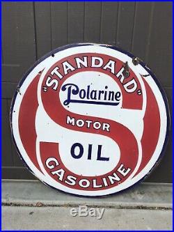 Vintage Porcelain STANDARD POLARINE MOTOR OIL Gasoline AUTO Sign 30