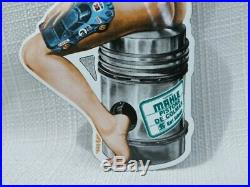 Vintage Porcelain Sign Gas Motor Oil Service Station Rare Pump Pin Up Girl Rare