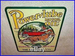 Vintage Power-lube Motor Oil Porcelain Metal 12'' X 10 Sign Gasoline Powerlube