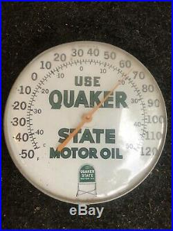 Vintage QUAKER STATE MOTOR OIL THERMOMETER Gas Station Sign Advertising Metal