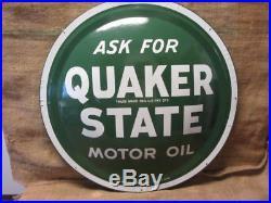 Vintage Quaker State Motor Oil Domed Sign 24 Antique Gas Station 9825