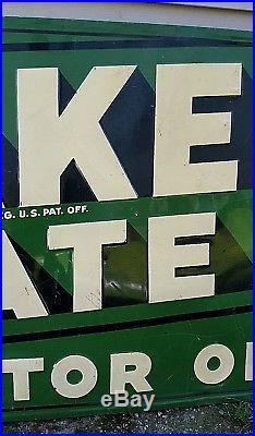 Vintage Quaker State Motor Oil Embossed Metal Sign Wood Frame 70 x 34 Dated 1949