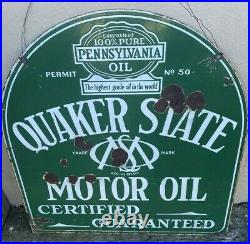 Vintage Quaker State Motor Oil Porcelain Tombstone PA 26x29 Gas Advertising Sign