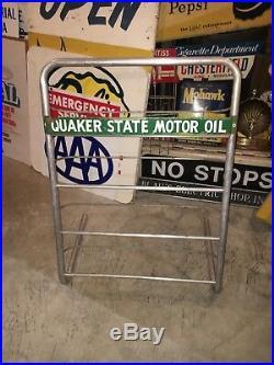 Vintage Quaker State Motor Oil Rack Oil Can