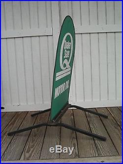 Vintage Quaker State Motor Oil Sidewalk Service Station Sign on Stand