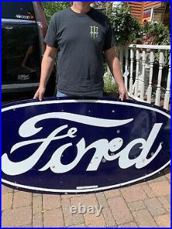 Vintage Rare Lg Ford Motor Co Metal Porcelain Sign Gasoline Oil Gas 72x36 Neon