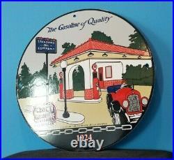 Vintage Red Crown Gasoline Porcelain Gas Motor Oil Automobile Standard Oil Sign