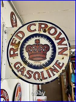 Vintage Red Crown Motor Flange Oil Gasoline 18 Porcelain Sign Gas Station