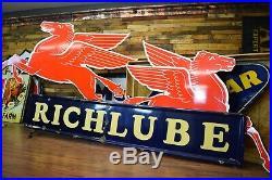 Vintage Richlube Richfield Motor Oil Original Porcelain Sign 12ft Gas Station