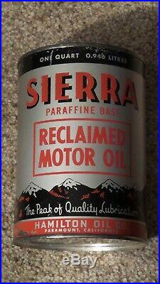 Vintage SIERRA Metal One Quart Reclaimed Motor Oil Can Gas Sign RAREFULLNOS