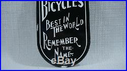 Vintage Schwinn Bicycles Porcelain Sign Gas Motor Oil Service Station Rare Push