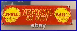 Vintage Shell Gasoline Mechanic Porcelain Sign Station Pump Plate Motor Oil Gas