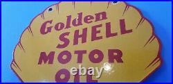 Vintage Shell Gasoline Porcelain Golden Motor Oil Service Station Pump Sign