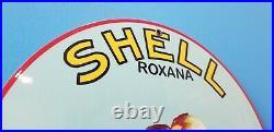 Vintage Shell Gasoline Roxana Porcelain Metal Gas Motor Oil Service Station Sign