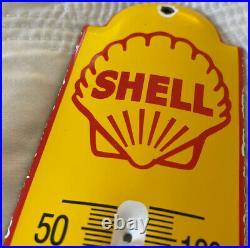 Vintage Shell Motor Oil Porcelain Thermometer Sign Gasoline Service Station