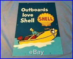 Vintage Shell Outboard Motor Oil 18 Porcelain Metal Gasoline Marine Boat Sign
