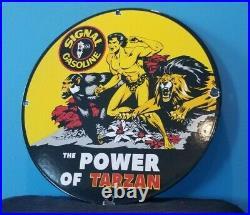 Vintage Signal Gasoline Porcelain Gas Motor Oil Tarzan Service Pump Plate Sign