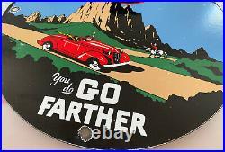 Vintage Signal Gasoline Porcelain Sign Gas Station Motor Oil Go Farther Rare