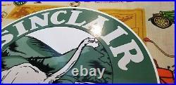 Vintage Sinclair Gasoline Porcelain Gas Motor Oil Metal Dino Ad Service Sign 12