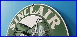 Vintage Sinclair Gasoline Porcelain Hc Motor Oil Service Dino Station Pump Sign