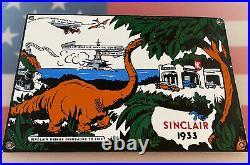 Vintage Sinclair Gasoline Porcelain Sign Oil Gas Station Pump Plate Motor Oil