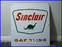 Vintage Sinclair Porcelain Sign Gas Motor Oil Can Station Pump Dino Gasoline Ad