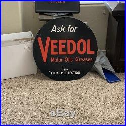 Vintage Single Sided 27 Ask For Veedol Motor Oil Metal Sign