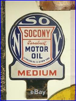 Vintage Socony Motor Oil Medium Double Sided Porcelain Sign