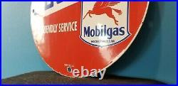 Vintage Socony Motor Oil Porcelain Pegasus Gasoline Service Station Pump Sign
