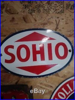 Vintage Sohio Gasoline Porcelain Gas Motor Oil Service Station Pump Plate Sign