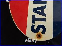 Vintage Standard Gasoline / Motor Oil Porcelain Gas Pump Sign