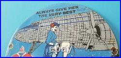 Vintage Standard Gasoline Porcelain Clipper Gal Gas Motor Oil Aviation Fuel Sign