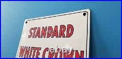 Vintage Standard White Crown Gasoline Porcelain Gas & Motor Oil Service Sign