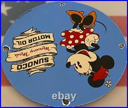 Vintage Sunoco Gasoline Porcelain Sign Gas Station Pump Plate Motor Oil Service