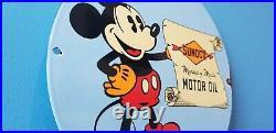 Vintage Sunoco Motor Oils Porcelain Mickey Mouse Gas Service Station Pump Sign
