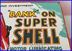Vintage Super Shell Gasoline Porcelain Sign Gas Station Pump Plate Motor Oil