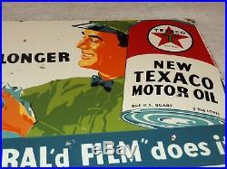 Vintage Texaco Gas Station Attendant 16 Porcelain Metal Gasoline Motor Oil Sign