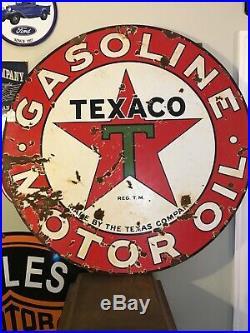 Vintage Texaco Gasoline Motor Oil Porcelian Sign