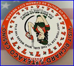 Vintage Texaco Gasoline Porcelain Sign Gas Station Pump Plate Motor Oil Service