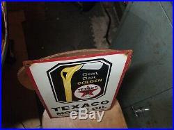 Vintage Texaco Motor Oil Porcelain Sign Gas Station Pump Plate Soda