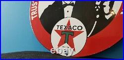 Vintage Texaco Porcelain Gas Motor Oil Attendant Service Station Pump Sign